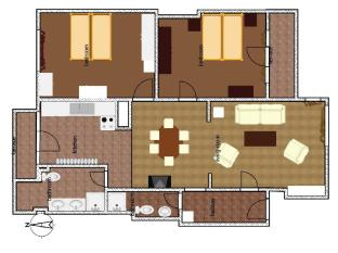Prime Rentals Apartments Sofia - Floor plan of the two bedroom apartment at 22A Dondukov Blvd.
