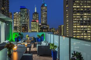 Rooftop lounge at night.