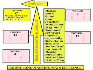 New Chung King Mansion Guest House - Las Vegas Group Hostels HK Hong Kong - Map To Hotel Reception