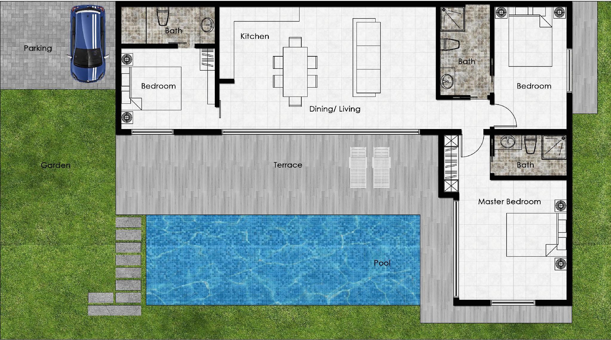 Seaview Pool Villa 3 Bedrooms   VISION LANTA