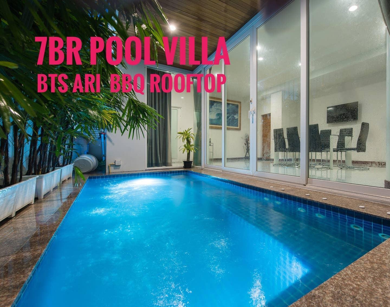 7BR Pool Villa BTS Ari BBQ Rooftop Bangkok CBD