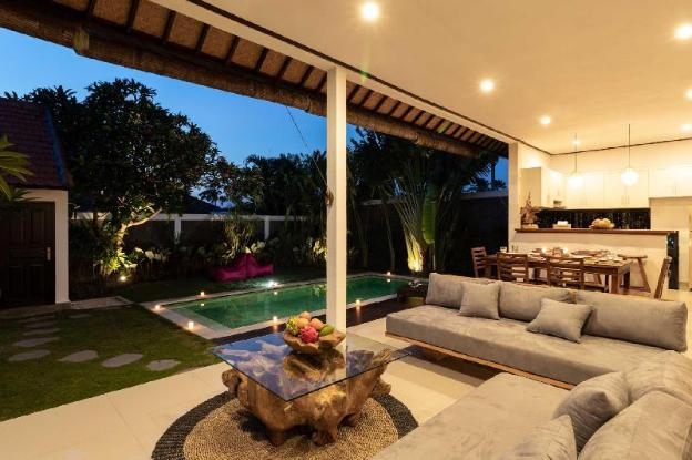 opened living room with tropical garden view