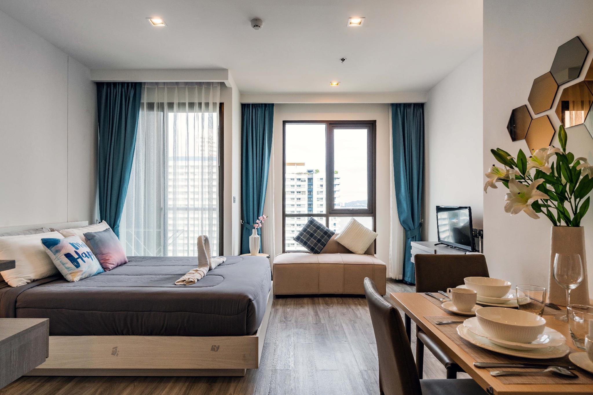 Pattaya Aeras Condo studio room 50 meters to beach อพาร์ตเมนต์ 1 ห้องนอน 1 ห้องน้ำส่วนตัว ขนาด 27 ตร.ม. – หาดจอมเทียน